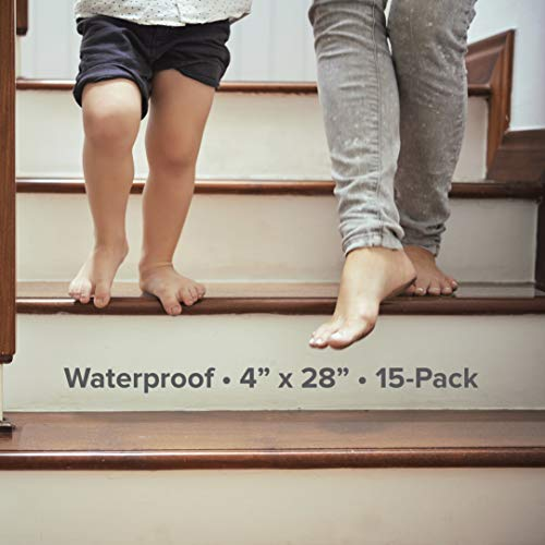 """LifeGrip Anti Slip Fine Resilient Stair Treads, Non-Slip Traction Tape to Tubs, Pools, Boats, Stairs, Clear, Soft, Comfortable for Bare feet (4""""X28""""X15P)"""
