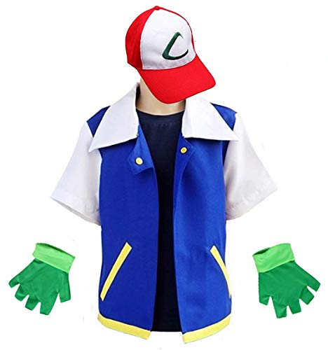 MUFENG Cosplay Costume for Adult Kids,Halloween Hoodie,Jacket Gloves Hat Sets for Trainer Blue