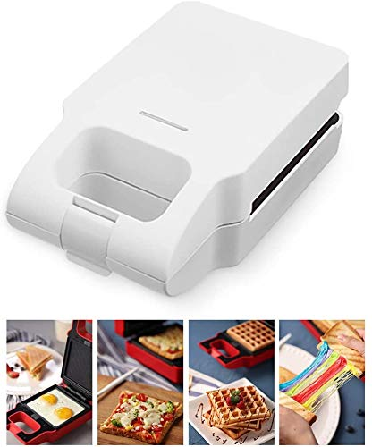 Waffle Maker Sandwich Broodrooster 2 in 1, Anti-aanbaklaag Plate Cooks Delicious,White