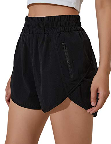 Blooming Jelly Womens High Waisted Running Shorts Athletic Workout Shorts Quick Dry Pants with Zipper Pocket (M,Black)