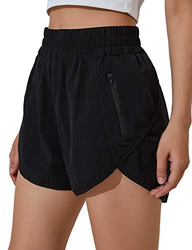 BMJL Women's Running Shorts Elastic High Waisted Shorts Pocket Sporty Workout Shorts Quick Dry Athletic Shorts Pants Black