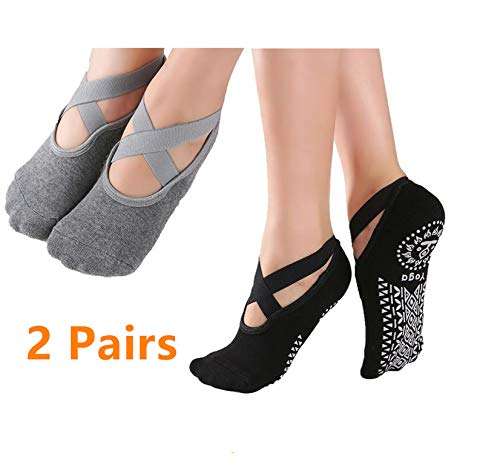 Non Slip Yoga Sokken voor Vrouwen, Anti-slip Pilates Sokken Dames Ballet Sokken met Grips Barre Sokken UK 2.5-8 (2 paar)