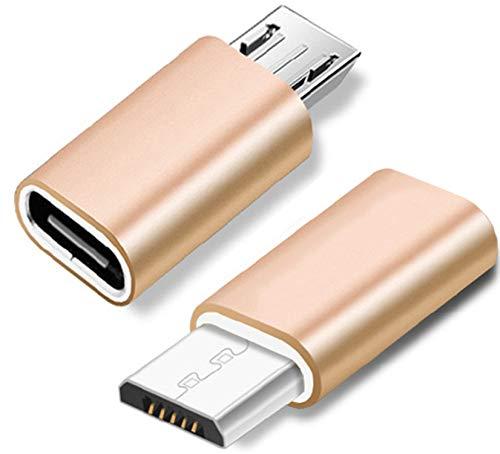 LUCKLYSTAR USB C (Female) auf Micro USB (Male) Adapter (2-Pack), USB-C (weiblich) Adapter, Micro USB (männlich) zu Typ C (weiblich) Adapter OTG-Adapter Kompatibel mit Samsung S7 S7 Edge Mi A2 Lite