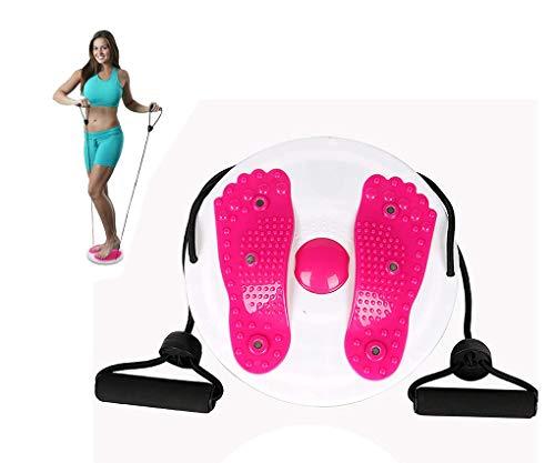 Disco Giratorio para Fitness | Equipo Multifuncional para Ejercicios de Cintura y Abdominales | Plataforma para Perder Peso y Moldear el Cuerpo | Forma Ergonómica que Masajea tus Pies (rosa)
