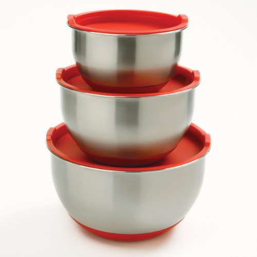 Norpro 3-Piece Stainless Steel Grip Bowls with Lids, Red