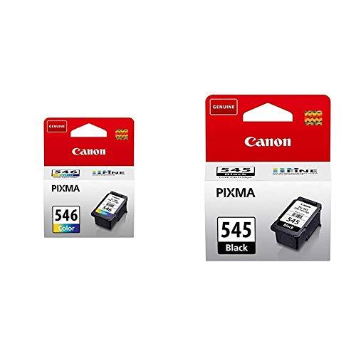 Canon CL-546 Cartucho de Tinta Original Tricolor para Impresora de Inyeccion de Tinta Pixma + PG-545 Cartucho de Tinta Original Negro para Impresora de Inyeccion de Tinta Pixma