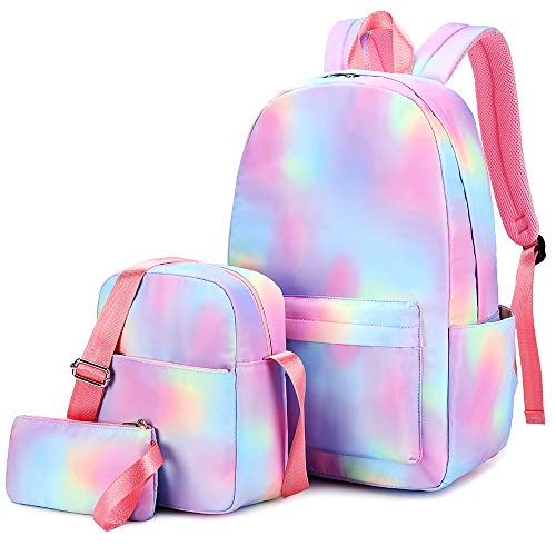CAMTOP Girls Backpack for School Teen Girls Bookbag Kids Backpack and Lunch Bag Set for Elementary Middle School Student (64-Rainbow 2)