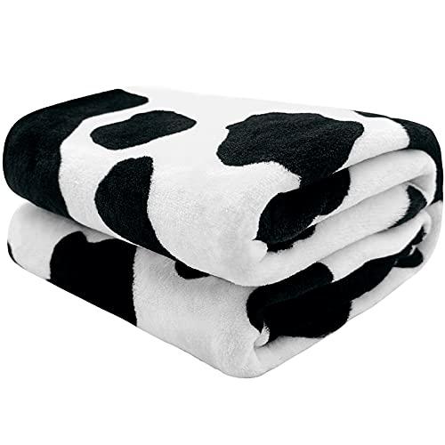 Bold And Brash Kuscheldecke Kinder Flanell Fleecedecke Schwarz & Weiß Dünne Kuh Decke Super Weiche Flauschig Decken für Baby Kinder Erwachsene Geschenk 100x130cm