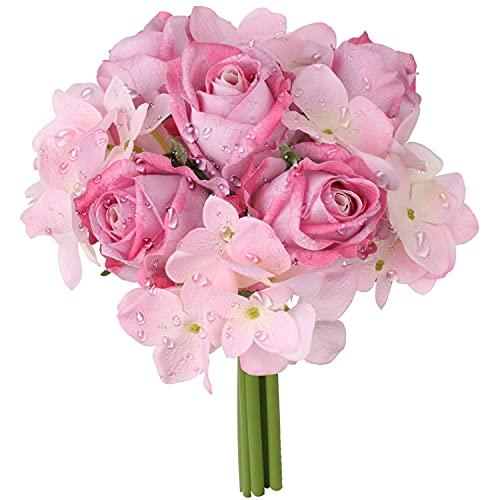 Brevi fiori di ortensia artificiali 9 teste realistiche al tatto, bouquet di ortensia di rosa, bouquet da sposa, fiori da tavola, centrotavola per compleanno, decorazione floreale