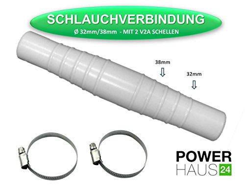 POWERHAUS24 Schlauchverbindungsstück - stufenlos - mit 2 Edelstahlschellen V2A