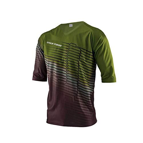 Uglyfrog Abiti di Ciclismo, Modello Maglia Maniche Corte,Maglia da Downhill MTB, Maglietta Ciclismo, Colore: Verde/Nero/Bianco SJF05