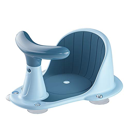 BLANDSTRS Baby Chair with Thermometer, Portable Toddler Child Bathtub Seat for 6-18 Months, Blue