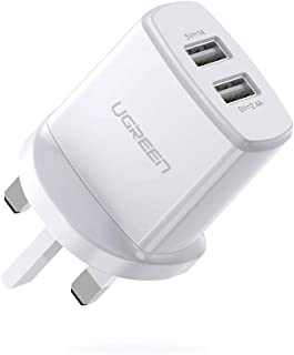 UGREEN USB Charger USB Plug,2 Port 17W 3.4A Mains Charger compatible for iPhone X,8,7,6, iPad Air,iPad Pro,Samsung Galaxy ...