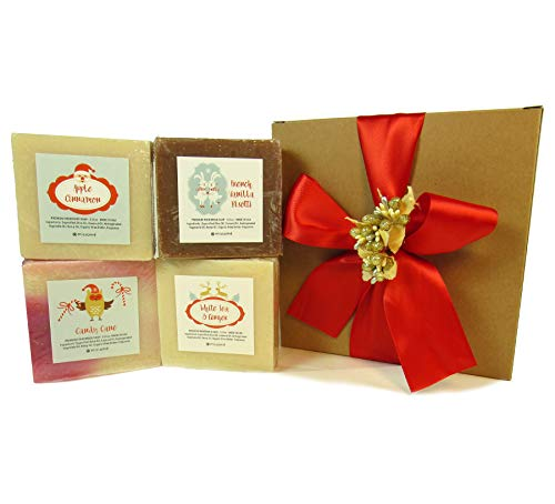 Christmas Holiday Handmade Bar Soap Gift Set, 4 Full Sized Bars 5.0 oz Each, Saponified Olive Oil Base With Organic Shea Butter, Best For All Skin Types b