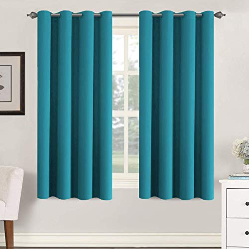 H.VERSAILTEX Thermal Insulated Blackout Curtains Soft and Smooth Baby Boy Room Window Panels,Formaldehyde-Free,Grommet,52 by 63 - Inch - Turquoise Blue - Set of 2