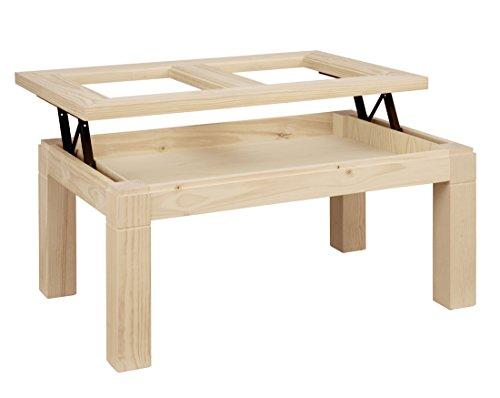 ojemar international Table Basse Tokyo t. Verre relevable 110 x 70 cm. (Pieds Amovibles)