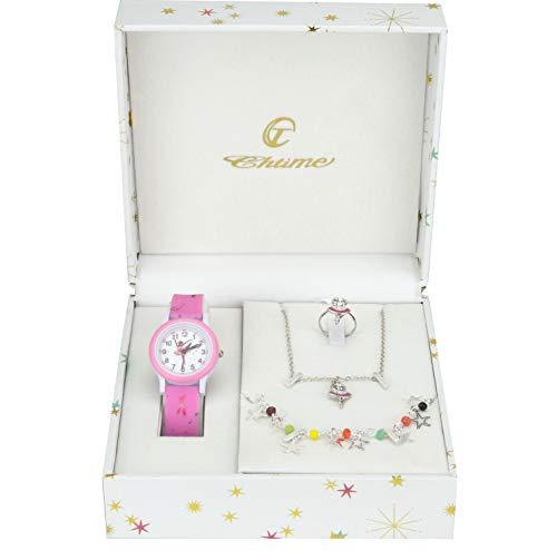 orologio per bambine Cofanetto Orologio Ragazza Rosa- Parure di gioielli Ballerino - Collana-Anello- Cinturino