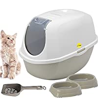 Large Hooded Cat Litter Tray + 2 Non Slip Food / Drink Bowls + Handy Scoop Activated Charcoal Filter - Eliminates Odours - Easy To Clean - Trendy Grey Colour Detachable Hood - Rounded Corners - Dishwasher Safe Bowls & Scoop Bowls Capacity: 0.2L or 0....