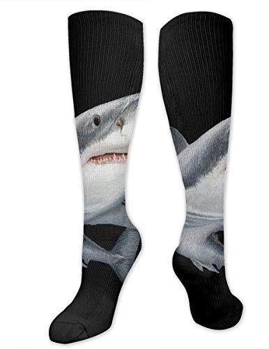 Calcetines de compresión con estampado de tiburón para hombres y mujeres, el mejor atlético y médico graduado para hombres y mujeres, correr, vuelo, viajes