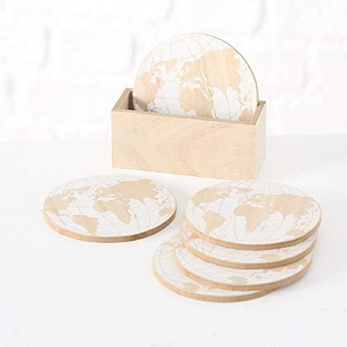 Home Collection Posavasos de madera y cristal, 6 unidades, con soporte, diseño de mapamundi, color beige y blanco, diámetro 10 cm
