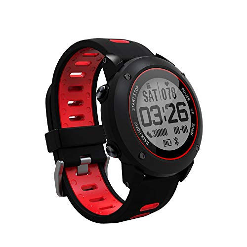 SoonCat GPS Watch for Men, Running Smart Watch All Black Military Men's Outdoor Sports Watch (Red)
