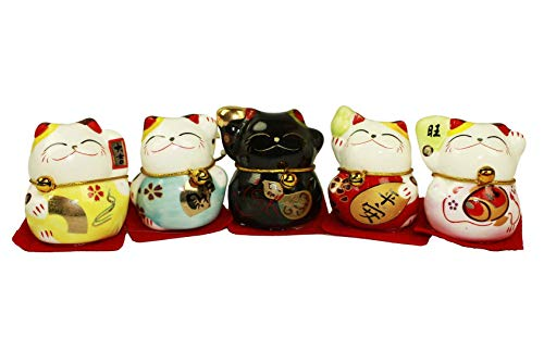 HAAC Juego de 5Mini Gato de Gato de la Suerte Amuleto cerámica 6cm x 4,5cm