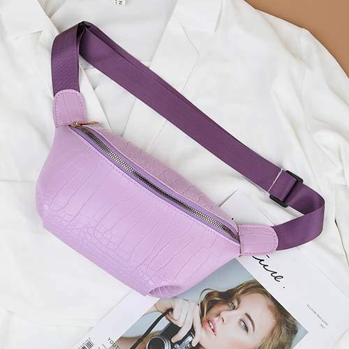 Xpccj Riñonera de color caramelo para mujer con cadena tipo plátano, nueva marca, cinturón de piel sintética, bolsa de pecho para mujer (color: lavanda, tamaño: 20 x 14 x 6 cm)