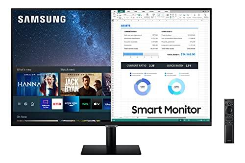 Samsung LS27AM502NRXEN - Monitor Samsung Smart M5 de 27'' Full HD, 1920x1080, Altavoces, Conectividad Móvil, Mando a Distancia y Aplicaciones de Smart TV (Netflix, Prime TV, Youtube) y TV Plus