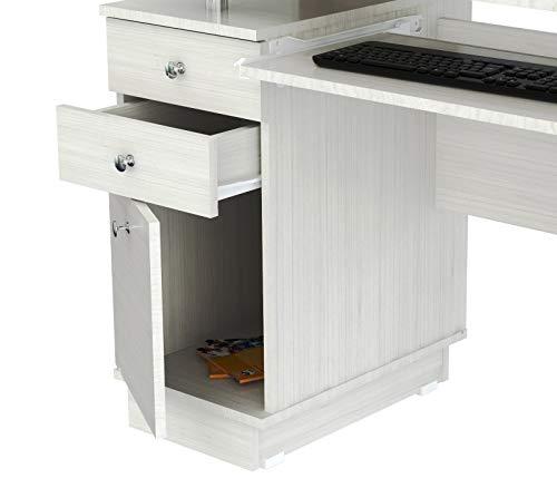 HomeRoots Computer Work Center/Credenza with Hutch - Melamine/Engineered Wood