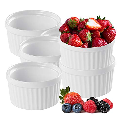 K BASIX 4.5 oz Porcelain Ramekin Pudding Cups - Dipping Bowls - Souffle Dishes - Creme Brulee Set - Classic Style White Ramekins Set for Baking - Custard, Pudding Cups - Set of 6 - Oven Safe