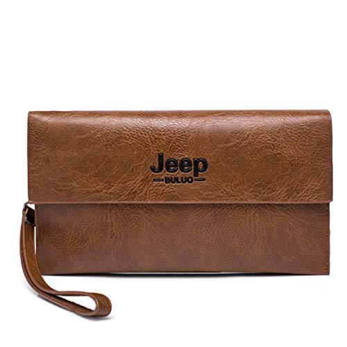 donfhfey827 - Cartera Multifuncional con diseño de Jeep Tribal para Hombre, Estilo Vintage, con Tapa, para teléfono móvil, Tarjetero, Cartera Multifuncional (marrón Claro)