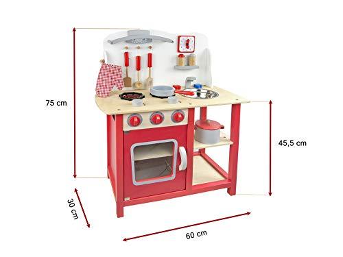 Leomark Classic Spielküche aus Holz - Farbe Rot - Kinderküche mit Zubehör, Holzküchemit Waschbecken, Pfanne, Backofen, Kochtopf, Küchenhelfern, Uhr, Funktionale Bunte Spielzeug, für Mädchen und Jungen, Höhe 75 cm - 3