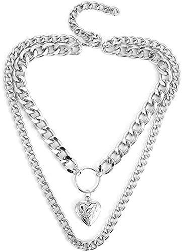 Zaaqio Collar Collar gótico Corazón Abierto Medallón Clavícula Cadena Colgante Memoria Gargantilla Collar Regalo