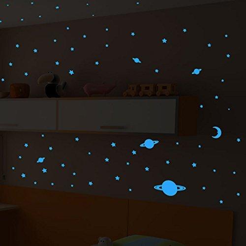 Ambiance Sticker Phosphorescent - Univers - 300 étoiles, lunes et planètes - Bleu