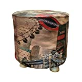 Taburete Madera Redondo, Puff Decorativos, tapizado Piel sintética, 28x28x34 cm - Banco, banqueta, posapies, Asiento bajo. (Londres