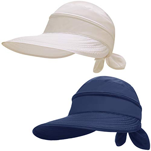 SATINIOR 2 Stücke Damen Breit Krempe Sonnenhut Kabriolett UV Schutz Strand Visier Hut (Marineblau, Beige)