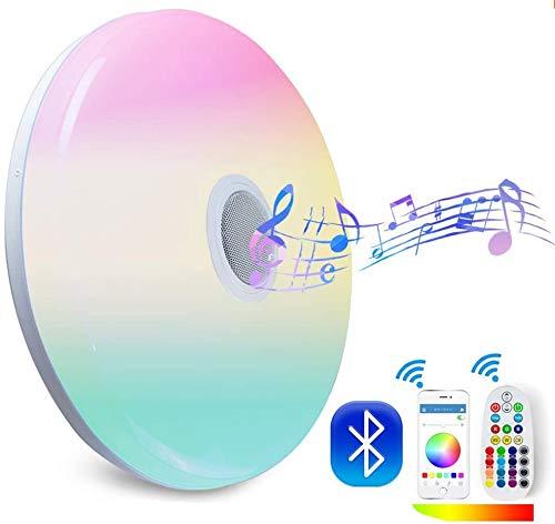 Nicetai 24W Deckenleuchte mit Bluetooth Lautsprecher Fernbedienung und APP-Steuerung Farbwechsel, dimmbar, Warmweiss- Kaltweiss, 2800-6500 Kelvin, RGB Umgebungslicht