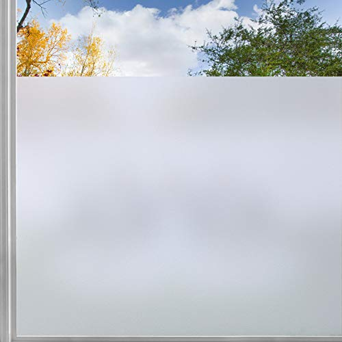 rabbitgoo Privacy Window Film, Frosted Sticker With Grid Lines Backing, Removable Opaque UV Protection Glass Covering Non-Adhesives Static Decals Cling For Home, 35.4 x 78.7 inches, Grid Lines Backing