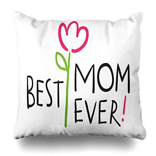 Fundas de cojín Curva Rosa Adorable Feliz Día de la Madre Dibujado a Mano 39 Texto Vacaciones Resumen El Mejor Cuidado Celebrar Decoración del hogar P