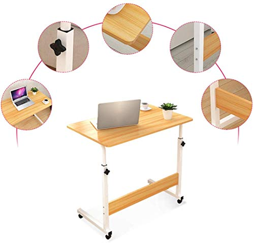 LY88 Verstellbarer Überbetttisch - Krankenhausbetttisch mit abschließbaren Rädern Beistelltisch für Bettsofa Krankenhaus Lesewagen Tablett, gelb