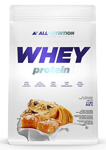 ALLNUTRITION Whey Protein 908g paquete de 1 proteína en polvo proteína de suero en polvo construcción muscular con aminoácidos ramificados BCAA (Caramel Salted Peanut Butter)