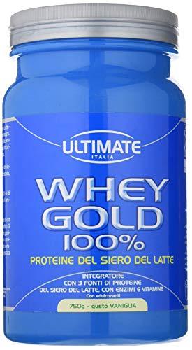Ultimate Italia Whey Gold 100% - Proteine Del Siero Del Latte Isolate E Idrolizzate - Integratore Di Proteine Per La Crescita E Il Mantenimento Della Massa Muscolare Magra - Gusto Vaniglia, 750 g