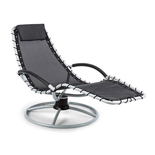 blumfeldt The Chiller - Swing Lounger, Garden Lounger, Deck Chair, 77 x 85 x 173 cm, Easy Care and Weatherproof, 360 ° Comfort Swing Motion, ComfortMesh, Sturdy Tubular Steel, Black