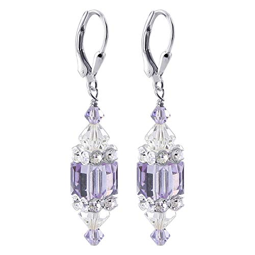 Lavender Cube Swarovski Elements Crystal Sterling Silver Drop Earrings