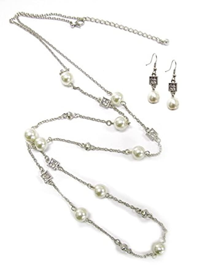 Linpeng Beads Necklace & Earrings in Pouch Pearl and Rhinestones Jewelry Set, 2 Piece