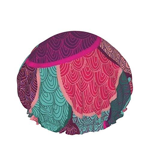 Gorro de ducha de doble capa impermeable, gorros de ducha de escamas de pez de sirena de colores para mujeres, gorro de ducha de doble