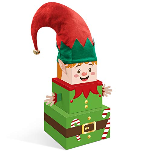 Christmas Elf Gift Boxes with Hat Xmas Holiday Tower Nesting Present Boxes for Christmas Tree Home Office Table Decorations Winter Festive Birthday Supplies