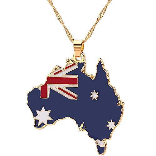 BAIYAN Hiphop Collar, Australia Sudán Sudán Sultán Mapa de la Bandera del Esmalte del Collar Hip-Hop Macho Collar de Cuello Collar de joyería Regalo Fresco