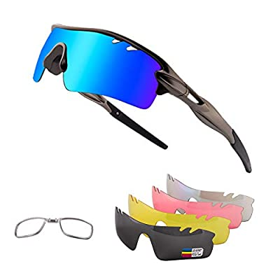 Toneoesol Polarized Sports Sunglasses for Men Women Cycling Glasses, with 5 Interchangeable Lenses for Running (Gun Grey)
