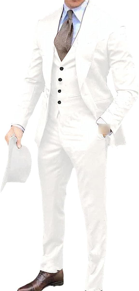 Men's Suit 3-Piece Suit Tuxedo Lapel Best Man Wedding Suit Fashion Business Blazer Jacket + Pants + Vest